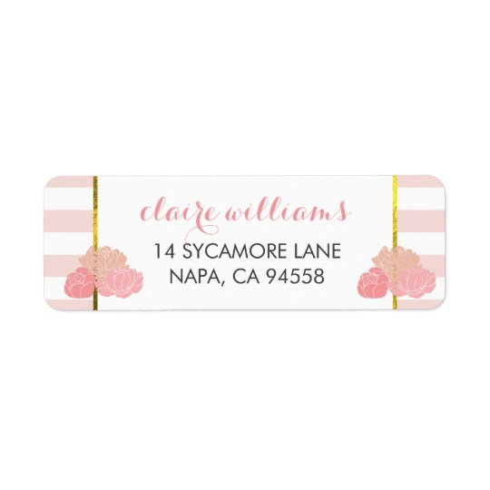 Pink Stripe & Blush Peony Return Address Labels