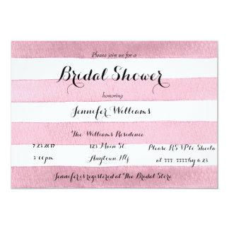 Pink stripe bridal shower invitations