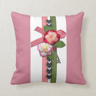 Pink Stripe Floral Design Throw Pillow