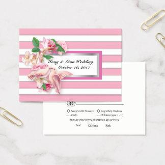 Pink Stripe Floral Doves Wedding RSVP Card