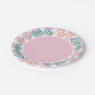 Pink Stripe Flowers and Leaves Paper Plate
