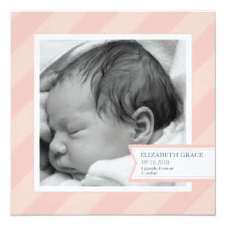 Pink Stripe Photo Birth Announcement