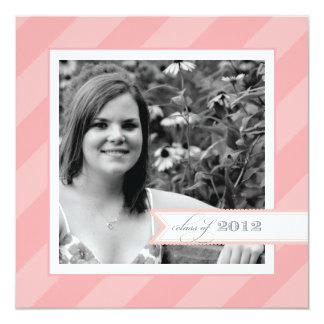 Pink Stripe Photo Graduation Announcement