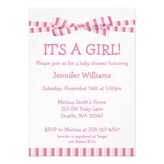 Pink Stripe Ribbon Bow Baby Girl Shower Invitation