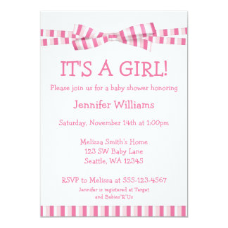Pink Stripe Ribbon Bow Baby Girl Shower Invitation