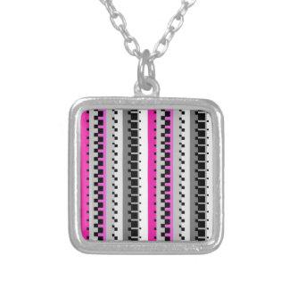 Pink Stripe Square Pendant Necklace
