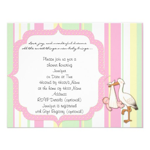 Pink Stripe Stork Baby Shower Invitation