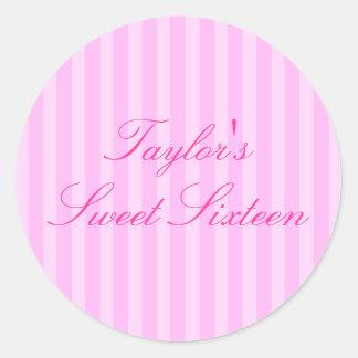 Pink Stripe Sweet16 Sticker