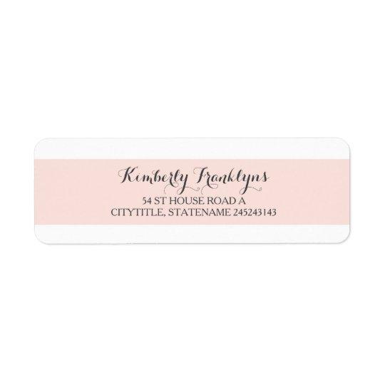 pink stripe white elegant wedding return address label