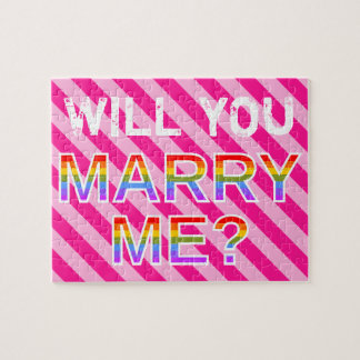 "Pink Stripe ""WILL YOU MARRY ME?"" Marriage Proposal Jigsaw Puzzle"