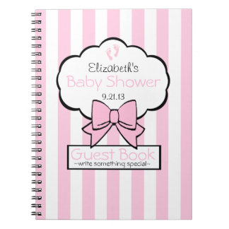 Pink Striped Baby Shower Guest Book- Notebooks