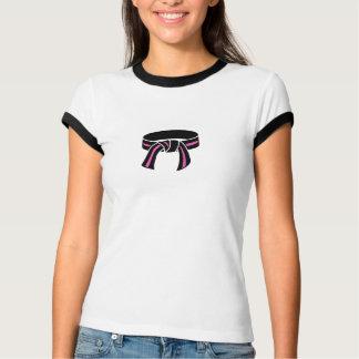 Pink Striped Black Belt T Shirt