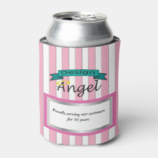 Pink Striped Custom Business Logo Can Coolers