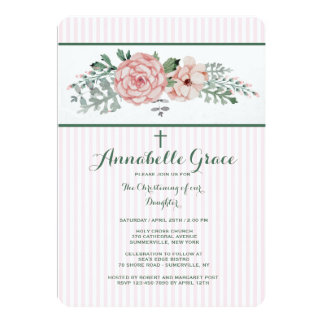 Pink Striped Floral Invitation