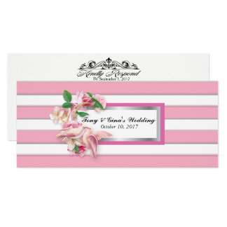 Pink Striped Flowers and Doves Wedding RSVP Cards