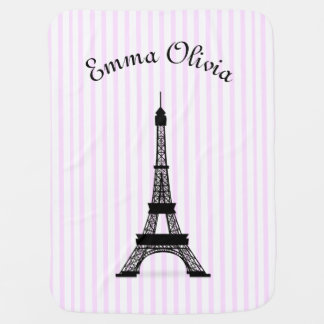Pink Striped French Theme Eiffel Tower Personalize Buggy Blankets
