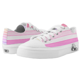 Pink striped Low Tops Printed Shoes