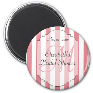 Pink Striped Monogram Personalized Bridal Shower 6 Cm Round Magnet