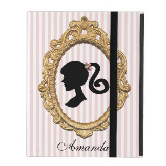 Pink Striped Paris Girl Silhouette iPad Folio Cover