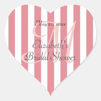 Pink Striped Personalized Heart Shaped Label Heart Sticker