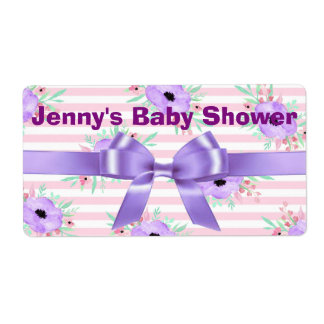 Pink Striped Purple Floral Water Bottle Labels