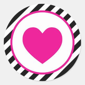 Pink striped valentine Heart Classic Round Sticker