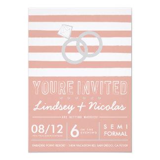 Pink Striped Wedding Invitation