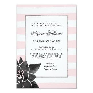 Pink Stripes and Black Succulent Bridal Shower 13 Cm X 18 Cm Invitation Card
