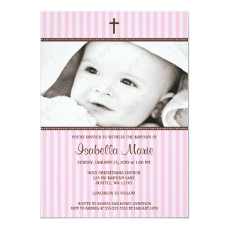 Pink Stripes and Brown Cross Girl Photo Baptism Card