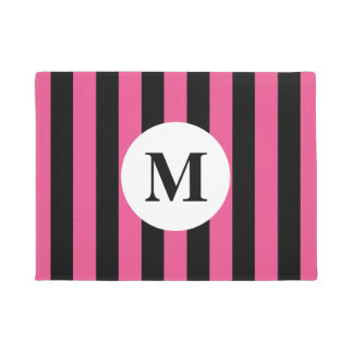 Pink stripes and custom monogram design doormat