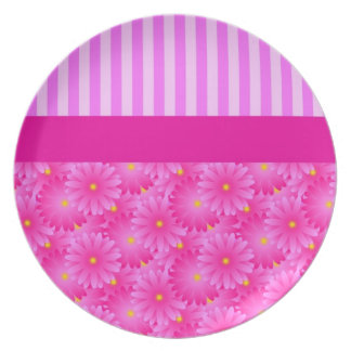 Pink Stripes and Flowers Plates
