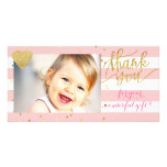 pink stripes and gold dots thank you photo cards