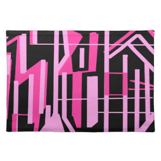 Pink stripes and lines design placemat