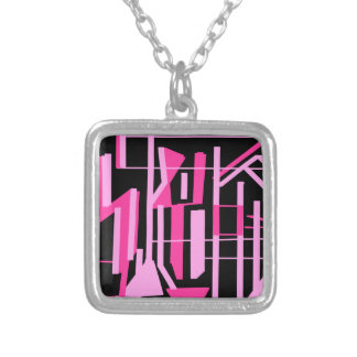 Pink stripes and lines design silver plated necklace