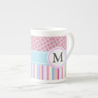 Pink stripes and pattern bone china mug