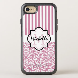Pink stripes and pink damask monogram OtterBox symmetry iPhone 8/7 case