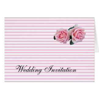 PINK STRIPES AND ROSES WEDDING INVITATION CARD