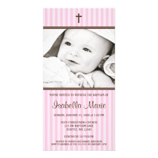Pink Stripes Brown Cross Girl Baptism Photo Card