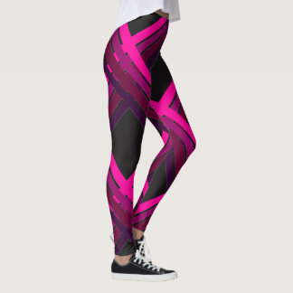 Pink Stripes Criss-cross over a black background Leggings