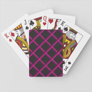 Pink Stripes Criss-cross over a black background Poker Deck