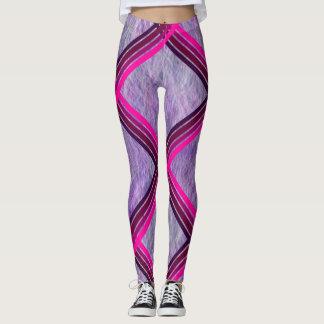 Pink Stripes Criss-cross over lavender Leggings