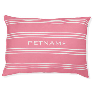 Pink Stripes custom monogram dog beds