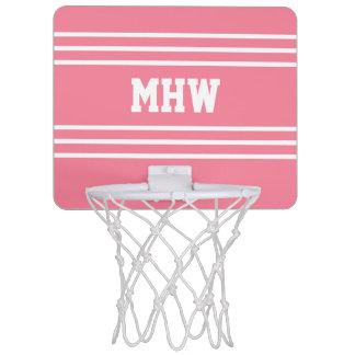 Pink Stripes custom monogram mini hoop