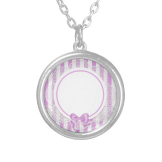 Pink Stripes Delicate Bridal or Baby Shower Round Pendant Necklace
