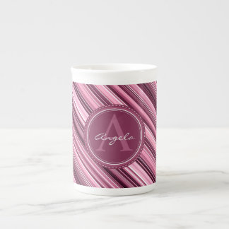 Pink Stripes Diagonal Pattern - Custom Monogram Tea Cup