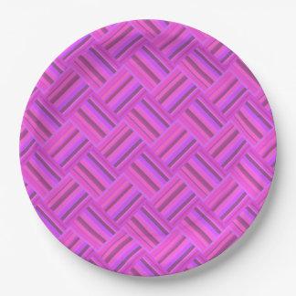 Pink stripes diagonal weave pattern 9 inch paper plate