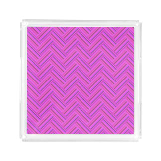 Pink stripes double weave pattern acrylic tray