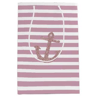 Pink Stripes Faux Glitter Anchor Medium Gift Bag