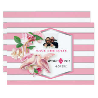 Pink Stripes Floral Doves Save The Date Card