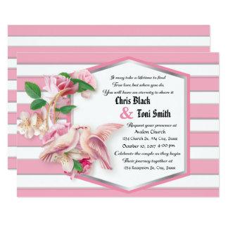 Pink Stripes Floral Doves Wedding Invitation